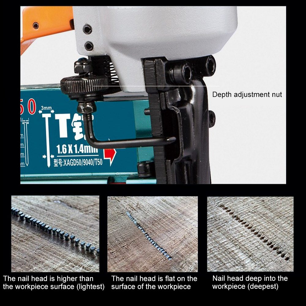 Tools : 3-in-1 Carpenter Pneumatic Nail Gun Air Stapler Nailing Gun Construction Stapler F10-F50 Carpentry Decoration Woodworking Tool