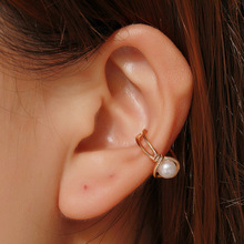 Hello Miss Fashion sweet earrings single pearl ear bone clip personality knotted earless female buckle jewelry
