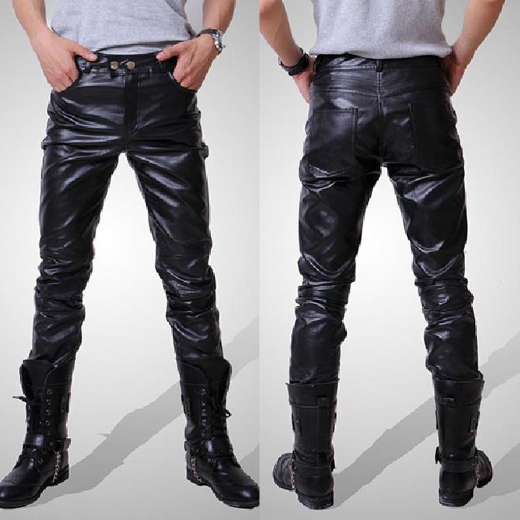 2019 New Men Joggers Male Trousers Casual Pants Men's New Fashion Autumn Winter Moto Biker Slim Fit Leather Long Pants M-3XL