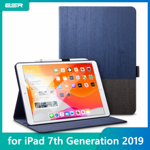 "Esr capa de folio urbano premium, para ipad 7a gen 2019 10.2 "", simplicidade, pano oxford, couro pu, capa inteligente para capa ipad 7 2019,"