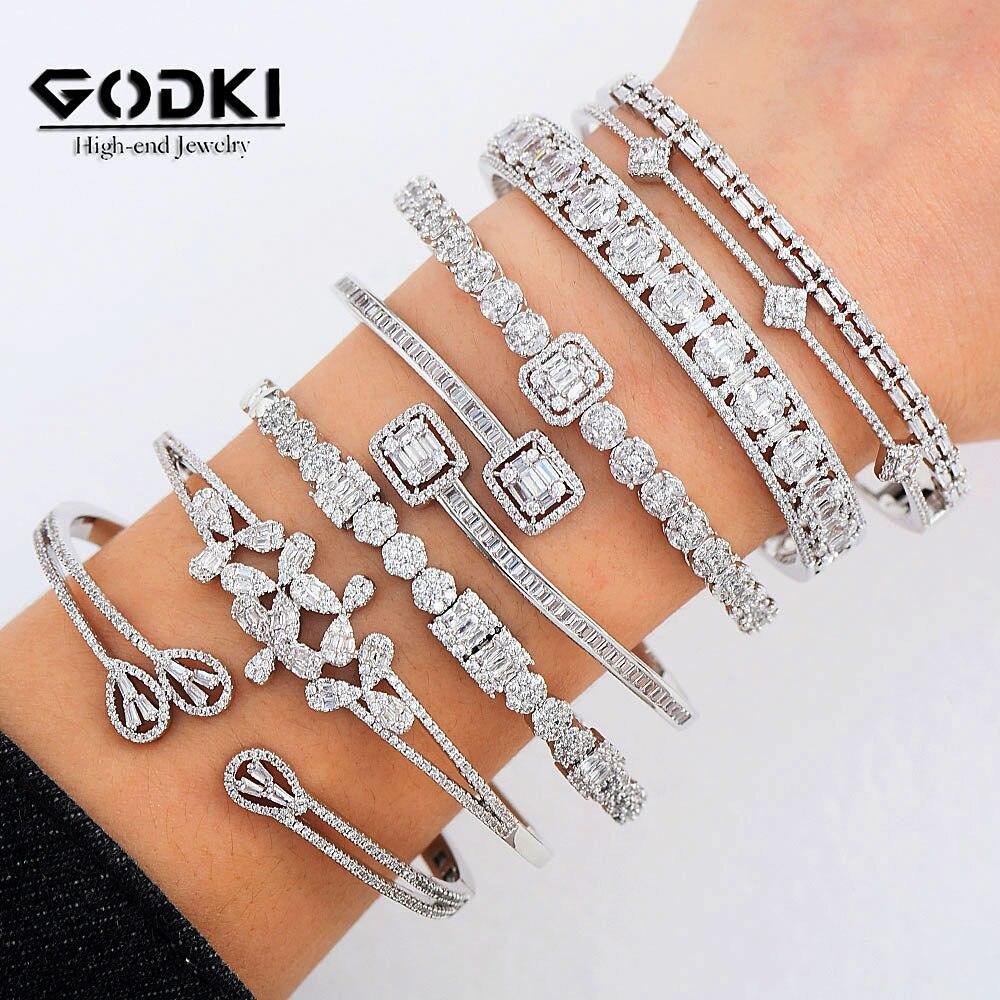 GODKI Luxury Stackable Cuff Bangles For Women Wedding Full AAA Cubic Zircon Crystal CZ Dubai Bridal Bracelets Party Jewelry 2020