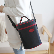 Thickened Round Lunch Box Bag Lunch Bag Oxford Cloth Large Round Bucket Lunch Insulation Bag