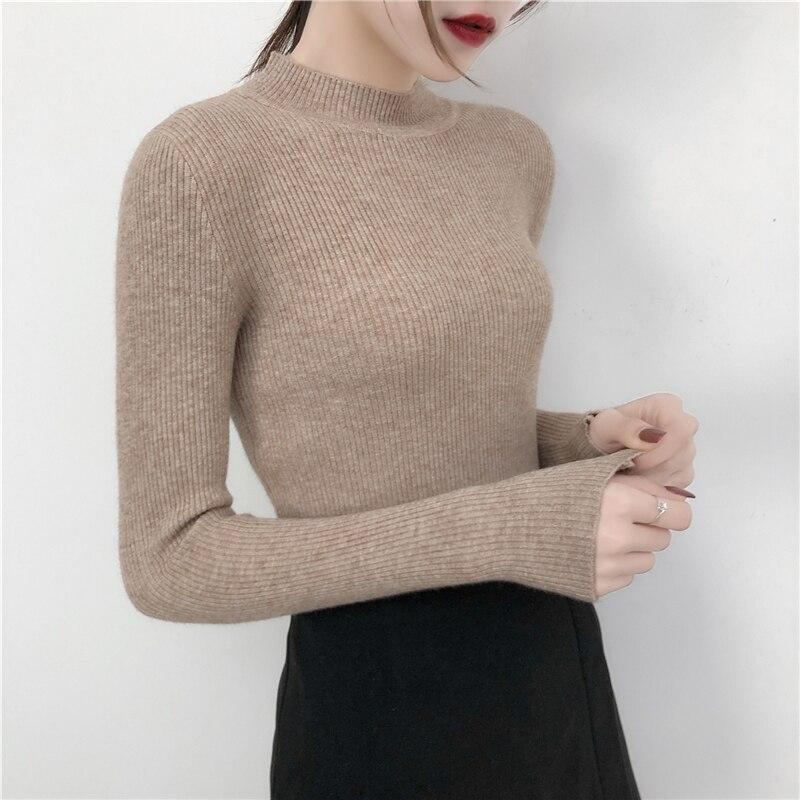 Осень/Зима 2020 толстый свитер женский вязаный с длинным рукавом