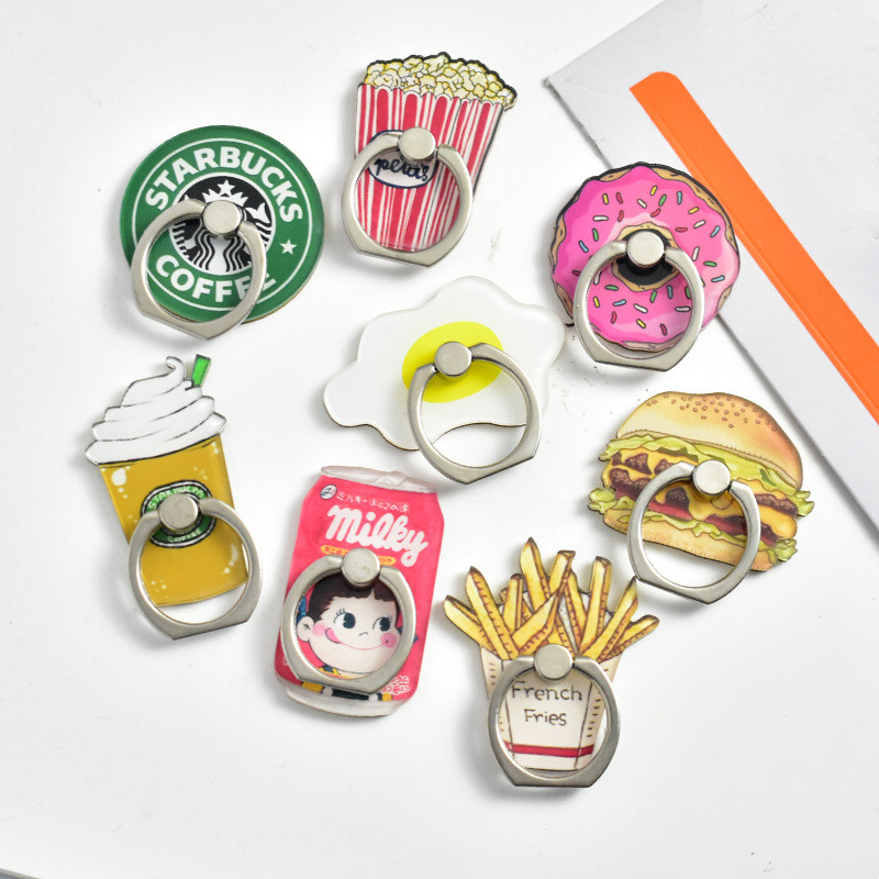 Universal Acrylic Cartoon Food Mobile Phone Stand Holder Ring Phone Smartphone Stand For IPhone Huawei All Phones