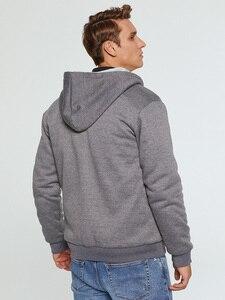 Image 3 - Brand Mens Fur Lined Hoodies Wool Warm Sweatshirts Autumn Winter Fleece Coats Sportswear 2019 Men Hoodie Outerwear Euro Size