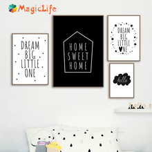 Home Quote Wall Art Canvas Painting posters and print Home Sweet cartoon Pictures For Baby Kids room decoration Posters unframed sweet print and cartoon design satchel for women
