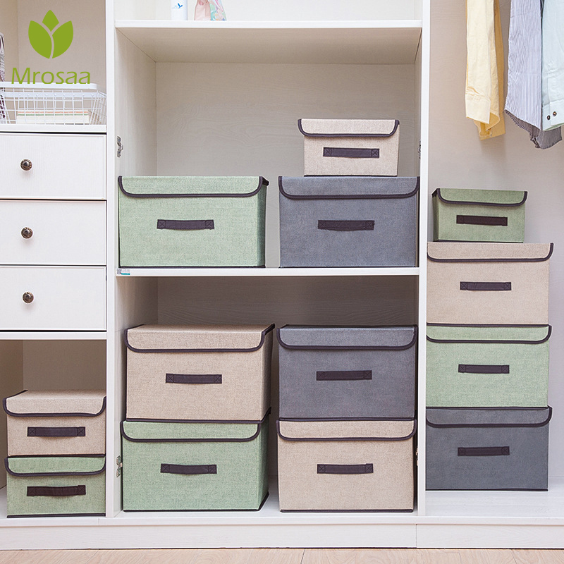 1Pc Storage Boxes With Lids No Smell Polyester Fabric Clear Storage Baskets Containers Bins With Double Cover Organizer 2 Size