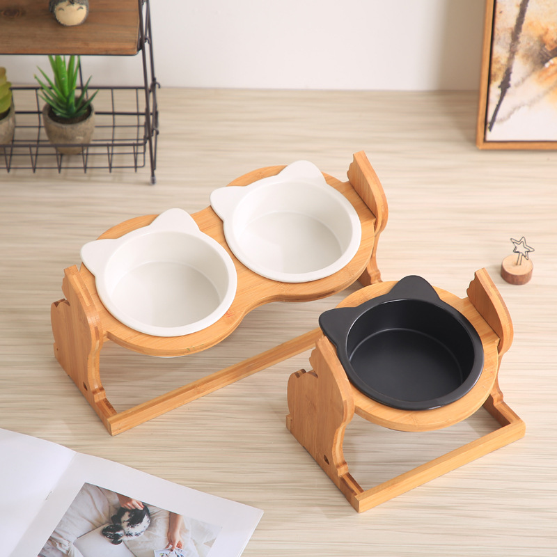 Cute Fashion Pet Feeding Bowl With Height Adjustable Holder Cat Dog Feeders Bowls Food Water Bowl For Cats Dogs Pet Supplies