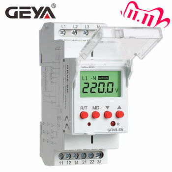 Free Shipping GEYA GRV8-S 3 Phase Digital Display Voltage Relay 8A 2SPDT Monitoring Auto Reset LCD