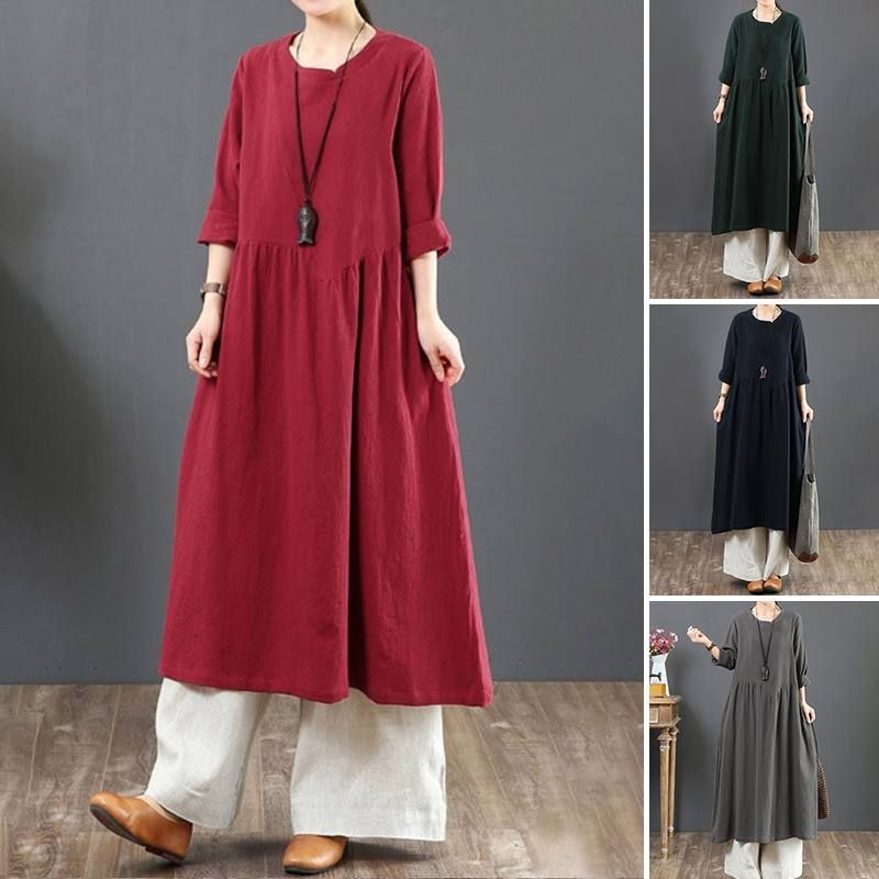 Vintage Woman Solid Linen Dress Summer Sundress ZANZEA 2020 Casual Long Sleeve Tunic Vestidos Female O Neck Pleated Robe 5XL