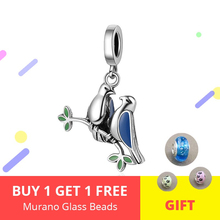 New 925 Sterling Silver sweet Lovebirds pendant beads with CZ Charms fit Pandora Bracelet for Girlfriend Jewelry Gifts new collection good gifts noble blue silver charms series 925 real silver charms bracelet for girlfriend