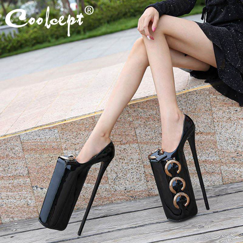 Coolcept Plus Size 35-46 Women Pumps High <font><b>Heels</b></font> <font><b>30cm</b></font> Platform Stilettos Hipster Sexy Nightclub Pole Dance Shoes Women image