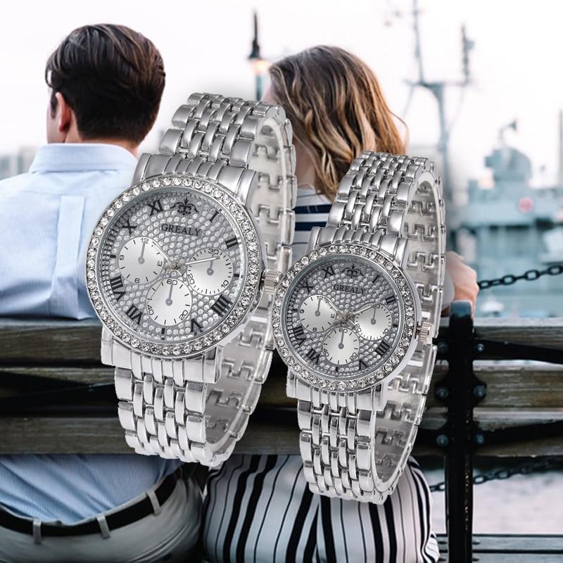 Three Eye Rhinestone Couple Watches Stainless Steel Man Ladies Luxury Quartz Wristwatch Lovers Watch Montres Femme Reloj Mujer