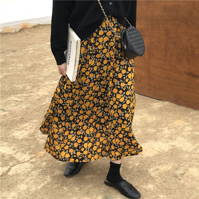 Alien Kitty New Women Loose Florals 2020 Spring Elastic-Waist Ginkgo Flowers High Waist Chic Hot Sale High Quality Simple Skirts