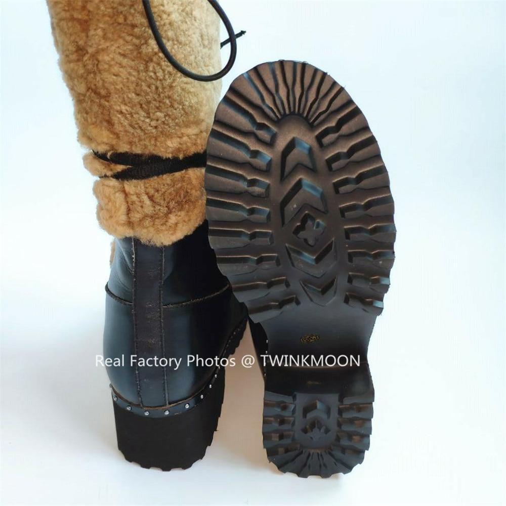 Bont Snowboots Vrouwen Winter Schoenen Flatform Lace Up Laarzen Pluche Chunky Lakleer Mid Calf Winter Laarzen Voor Vrouwen plus Size43 - 6