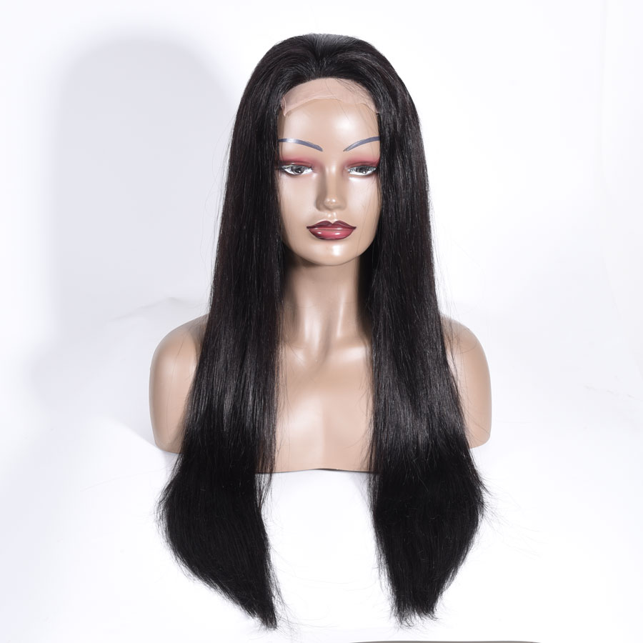 He9c143616c1b45408c91e960bbecd316c 10-28 inch wigs Brazilian 4x4 Closure Wig 100% Human Hair Lace Wigs Long Straight Remy Lace Closure Wigs for Woman 150 Density