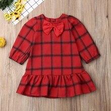 цена на Beautiful Girl Dress For Autumn Casual Baby Girls Long Sleeve Plaid Print Dress Wiith Bowknot Kids Pageant Princess Dresses