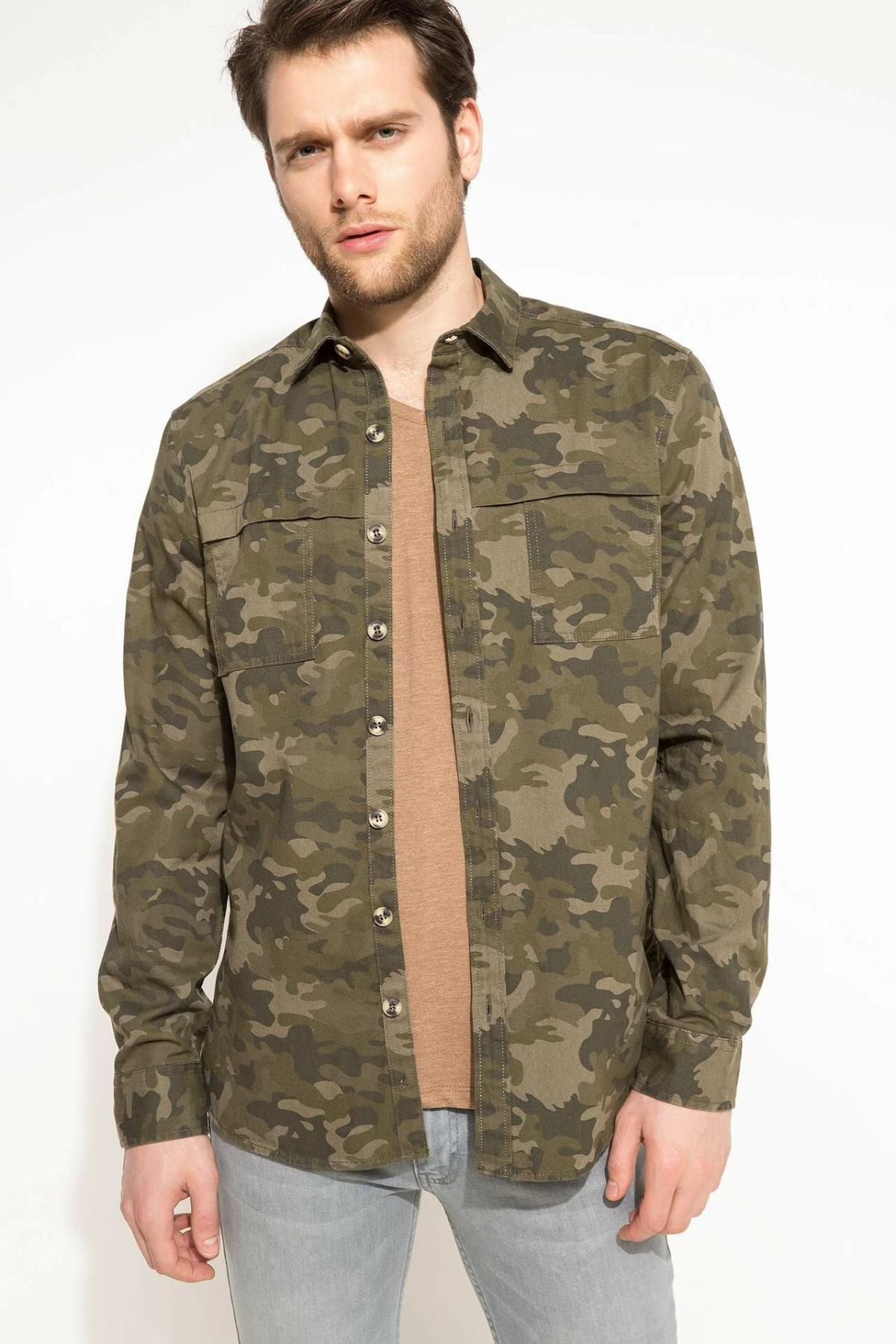 DeFacto Men Fashion Camouflage Shirts Long Sleeve Shirts Mens Casual Lapel Collar Casual Shirt New - I1566AZ18SP