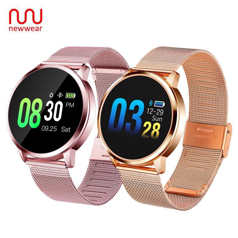 Atualizar Newwear Q8 Além de Ouro Rosa Relógio de Forma Inteligente Eletrônica Rastreador Esporte da Aptidão Das Mulheres Dos Homens À Prova D' Água Pulseira Smartwatch