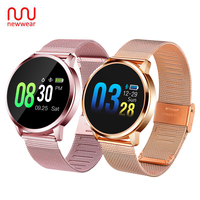 Upgrade Newwear Q8 Plus Rose Gold Smart Watch Fashion Electronics Men Women Waterproof Sport Tracker Fitness Bracelet Smartwatch