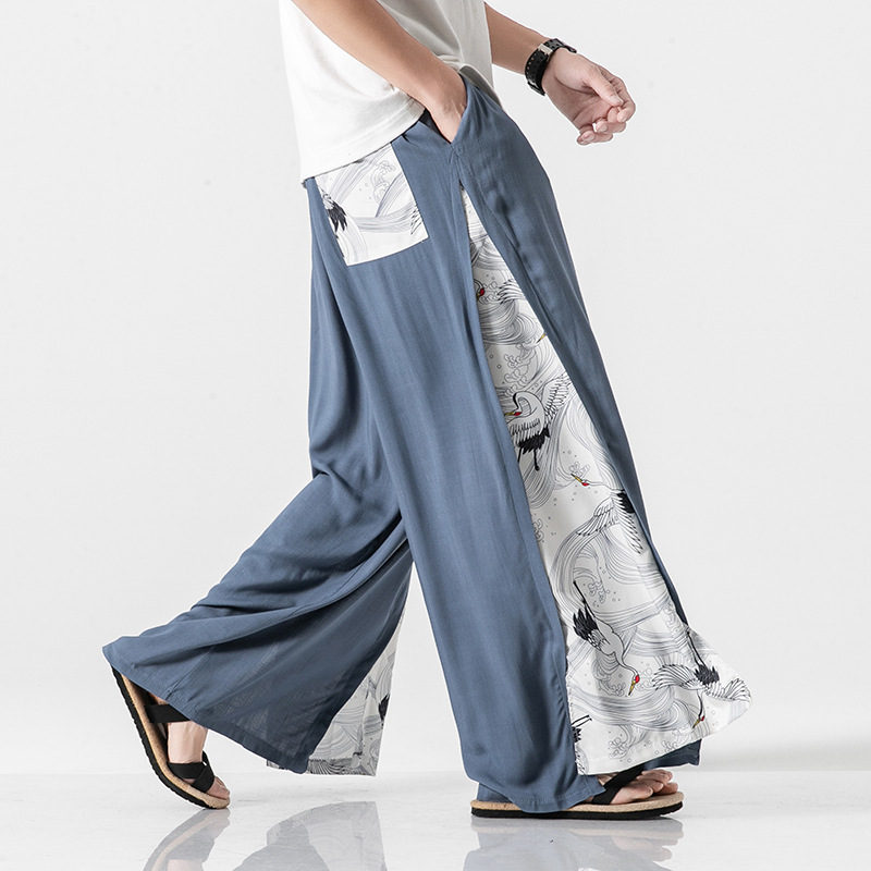 0628 Summer Japanese Kimono Pants Men Side Split Streetwear Cotton Linen Wide Leg Pants Big Size Loose Spliced Casual Vintage in Wide Leg Pants from Men 39 s Clothing