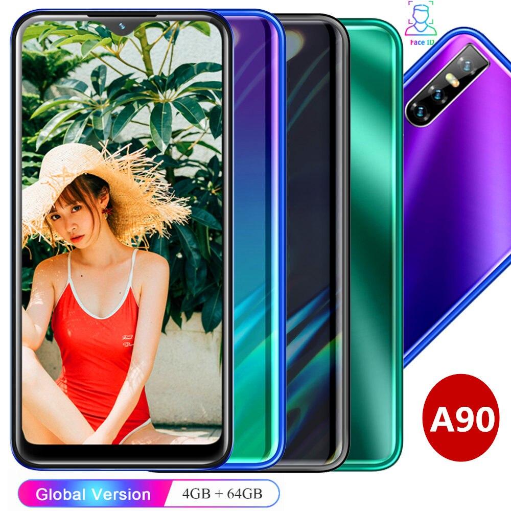 Смартфон A90 19:9 HD с экраном 6,26 дюйма, четырехъядерный процессор, 4 Гб ОЗУ 64 Гб ПЗУ, 13 МП, Android, разблокированный мобильный телефон с распознавани...