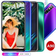 "A90 19:9 HD water drop screen 6.26"" smartphones Quad core 4GB RAM 64GB ROM 13MP Android celulares face ID unlocked mobile phones(China)"