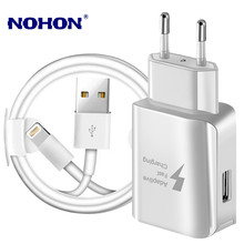 Kit USB Charge Kabel + USB Cepat Charger untuk iPhone 6S 7 Plus X XR X 11 Pro max 5S Pengisian Kabel Uni Eropa Plug Travel Charger Dinding(China)
