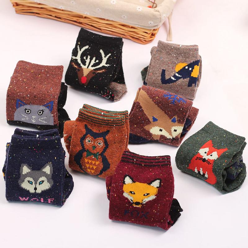 aNew Atumn Winter Thick Wool Cotton Crew Socks Women Harajuku Animal Owl Deer Cat Elephant Lovely Cute Christmas Sock Hiking