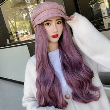Модные женские армейские кепки Осень Зима Ретро береты с длинной волной парик женский