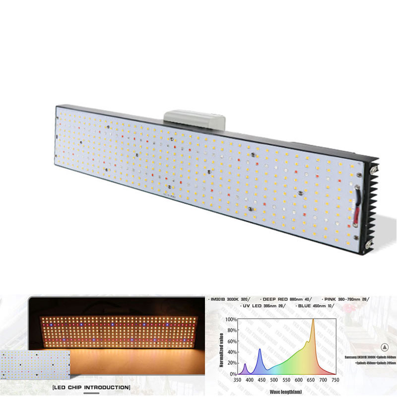Led crecer luz LM301B 400 Uds Chip de espectro completo 240w samsung 3000K 660nm rojo verduras/Bloom estado conductor Meanwell 150W de alta potencia de espectro completo UFO LED crece la luz para las plantas verduras y la etapa de floración, 32 rojo + 10 azul + 2 amarillo naranja + 2 + 2 blanco + 1IR + 1UV