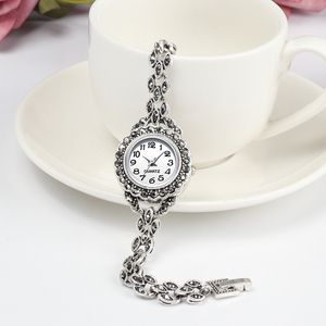 Image 2 - REVELRY Luxury Antique Silver Wrist Watch Turkish Rhinestone Bracelet Watches Women Vintage Geneva Designer Quartz Watch Womens
