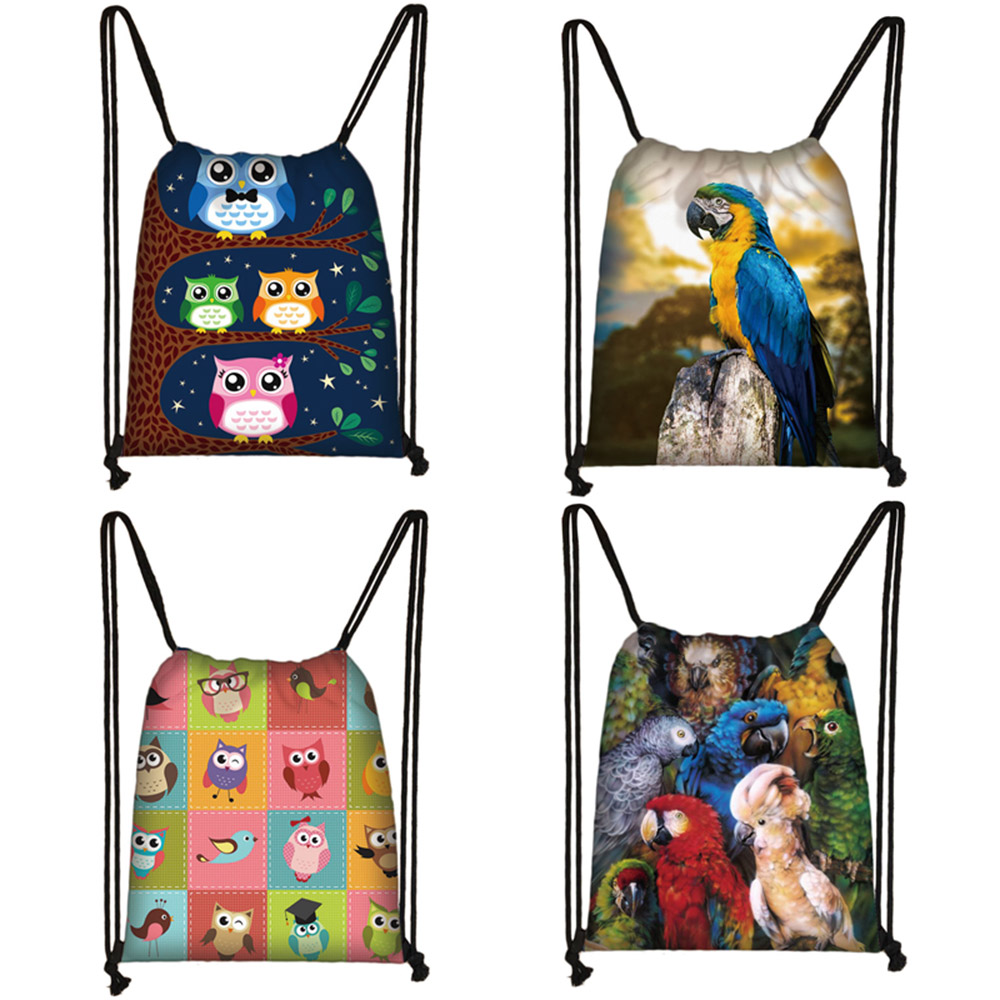 Cute Bird Owl / Parrot Print Drawstring Bag Women Fashion Storage Bag Teenager Travel Bags Canvas Backpack Kids Bookbag