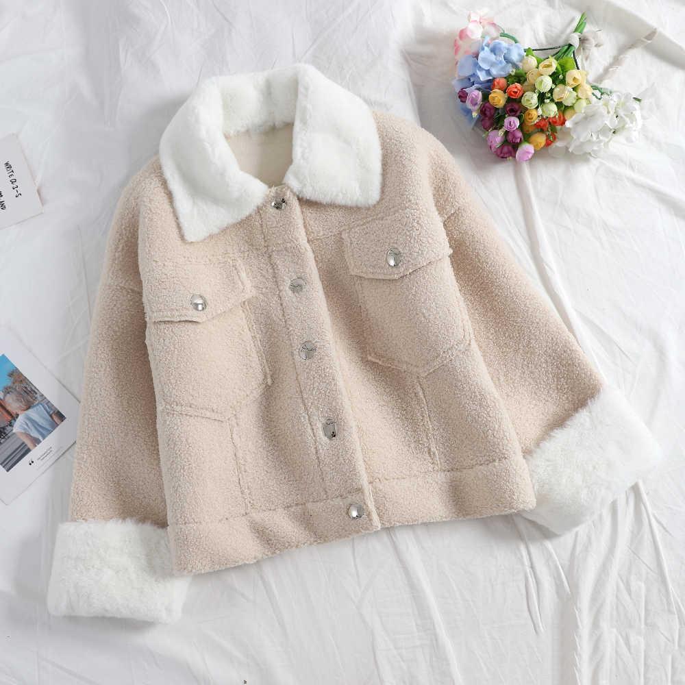 SINGRAIN kadınlar Faux kürk polar ceket zarif peluş giyim rahat tatil kabartmak palto gevşek sıcak kalın kış kabarık ceket