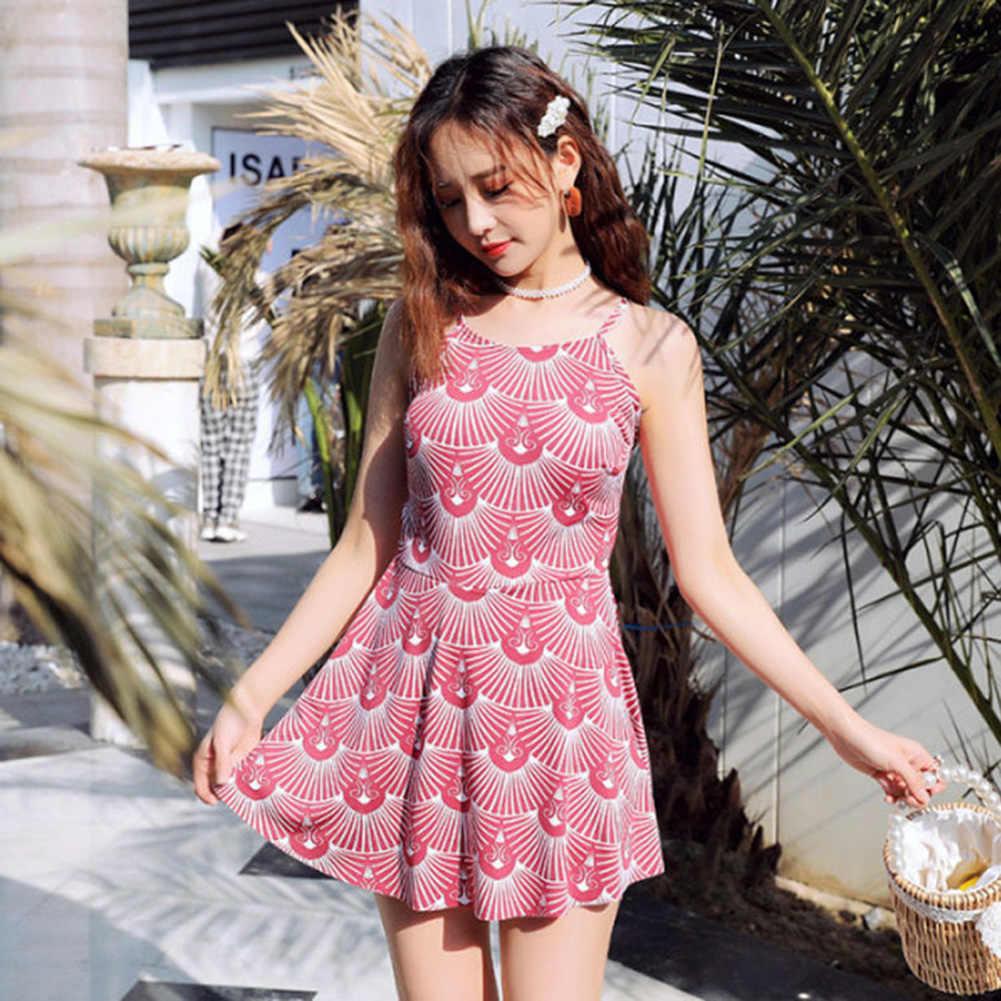 Kore kadın tek parça mayo Backless baskılı ince mayo kemerli elbise Monokini Bodysuit mayo baskı mayo yaz
