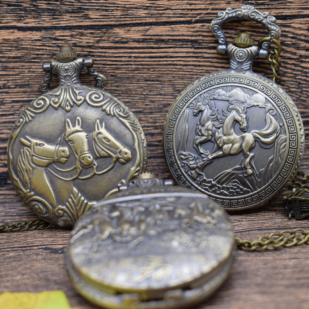 Pocket & Fob Watches Bronze Horses Pattern  Quartz Pocket Watches Necklace  Women/Mens  Pendant Clock Gift for Child