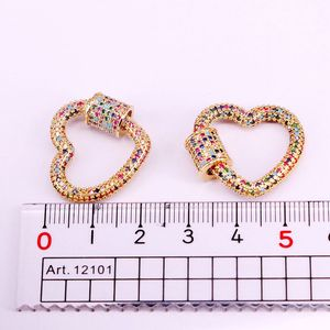Image 5 - 3PCS, Gold Color Rainbow CZ Micro Pave Heart Clasps, DIY Jewelry Clasps, Lock Carabiner, For Jewelry Making
