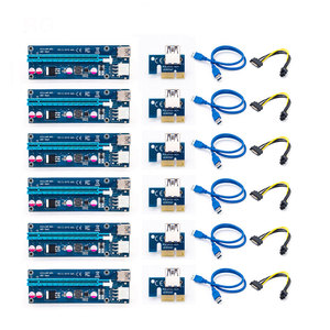 Райзер 006C PCIe PCI-E PCI Express, 6 шт., райзер с 1x на 16x USB 3,0 кабелем для передачи данных, адаптер SATA на 6 pin для майнинга биткоинов