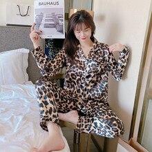 Slik vêtements de nuit femmes pyjamas costume manches longues deux pièces vêtements de maison ensemble avec un pantalon femme 2021 printemps été vêtements pour les femmes