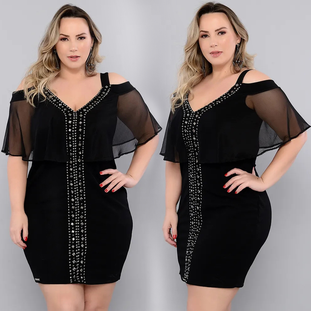 <font><b>6XL</b></font> Plus Size Summer <font><b>Dresses</b></font> For Women Shiny Strapless V-neck Women's Lace <font><b>Dress</b></font> <font><b>Sexy</b></font> Backless <font><b>Dress</b></font> Ladies Party vestidos D30 image