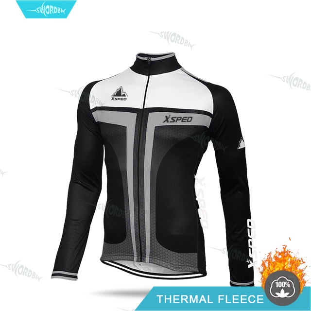 Mens Long Sleeve Bicycle Cycling Jersey Fleeced Jacket Road Bike Racing Wear