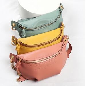 Image 2 - MAHEU Genuine leather waist bags women designer fanny pack fashion belt female lady wait pack bum bag cowskin single shouder bag