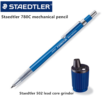 Staedtler 780c Mars 2.0mm Technico Automatic Mechanical Pencil / 502 Lead Sharpener Rotary Action Pointer Tub Set