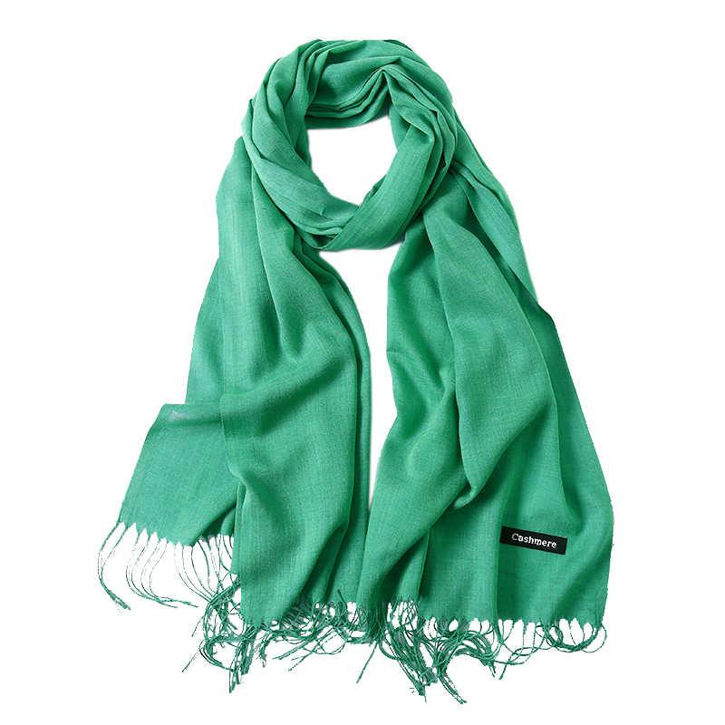 Inverno Lenços Cor Sólida para as mulheres cachecol 2019 Xales e deforma foulard femme hijab lenço de Pashmina bufandas invierno mujer pará