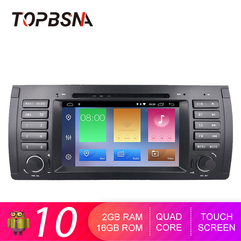 TOPBSNA Android 10 Car DVD Player for <font><b>BMW</b></font> E39 X5 M5 <font><b>E38</b></font> E53 WIFI Multimedia GPS Navigation 1 Din Car <font><b>Radio</b></font> Stereo Video RDS Auto image