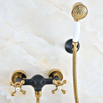 Luxury Gold Color Brass Black Oil Rubbed Bronze Wall Mounted Bathroom Hand Held Shower Head Faucet Set Bath Mixer Tap mna514