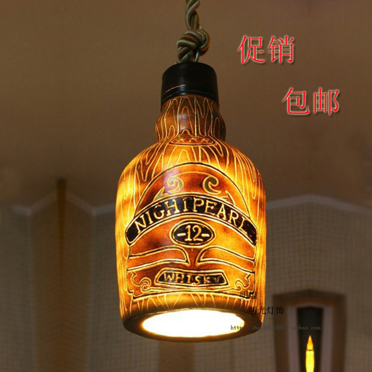 Vintage Wine Bottle Pendant Light Suspension Luminaire Bar Entranceway Balcony Dia 21*h37cm Lustre Pendente