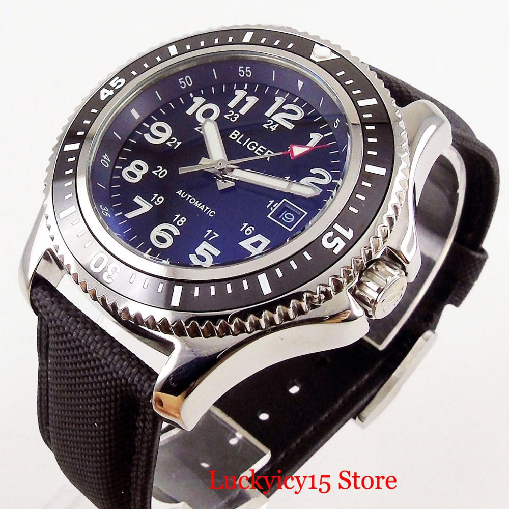 BLIGER 44mm Black Dial Self Winding Mechanical Men Watch Rotating Bezel MIYOTA Movement Leather Strap