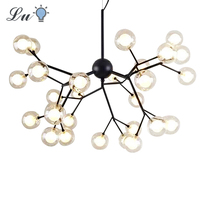 LED Dendritic Pendant Light Postmodern Personality Molecule Hanging Lamp Restaurant Kitchen Study Glass Ball Lighting Fixtures