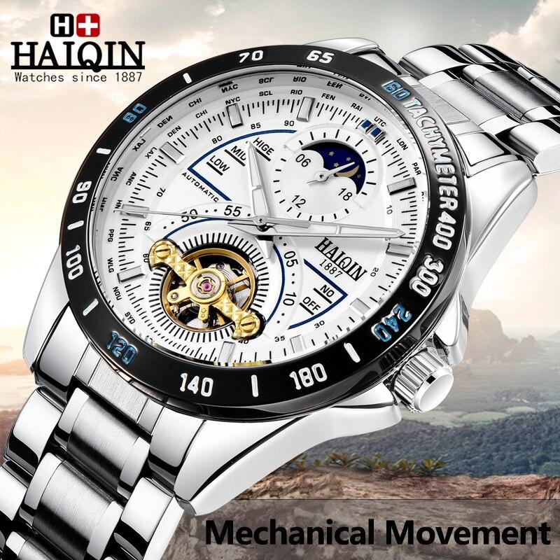HAIQIN fashion mechanical movement men watch high-end luxury brand military sport wristwatch Waterproof moon phase reloj hombre